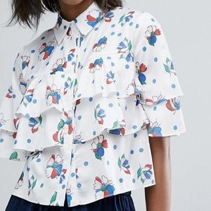Lost Ink Cropped Shirt With Frills In Print